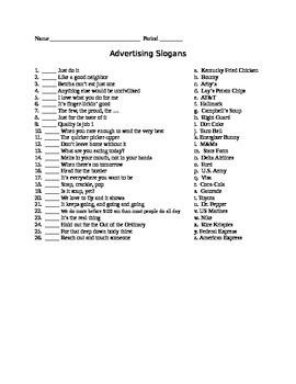 Advertising Slogans Worksheet. Worksheets. Ratchasima