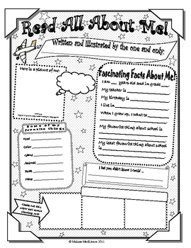 All About Me Student Poster (Letter Size) by Second Grade