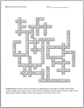 Astronomy Crossword Puzzle by Science from Murf LLC
