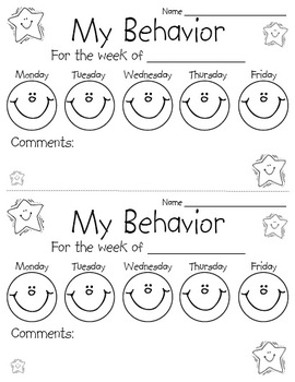 Behavior Chart Sheet by Perfectly Primary Printables