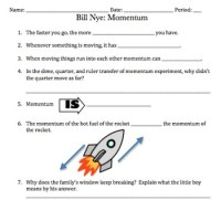 Bill Nye Momentum Video Worksheet (Great for... by ...