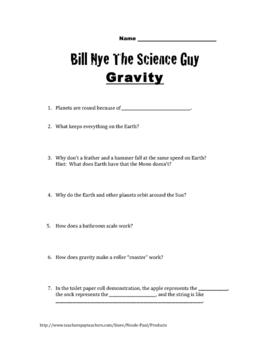 Bill Nye Questionsgravity16q's, Key,& By Nicole Paul  Teachers Pay Teachers