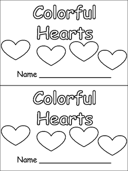 Colorful Hearts- Valentines Kindergarten book-... by