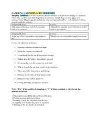 Dangling and Misplaced Modifiers Worksheet (No... by ...