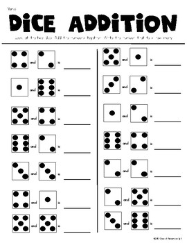Dice Addition Worksheet *Plus* Partner Dice... by Class of