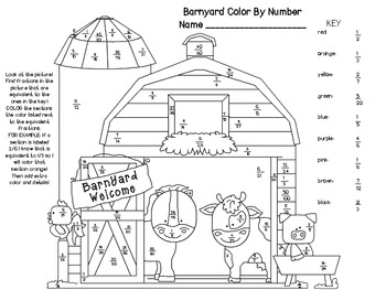 Barn Equivalent Fractions Color By Number by Never Enough