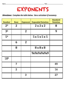 Exponents Worksheet