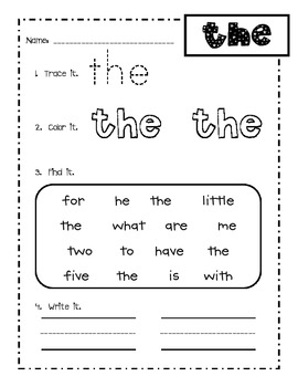 First grade Fry words 1-25 sight word practice... by Amy