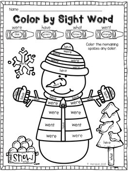 Winter Sight Word Coloring Coloring Pages