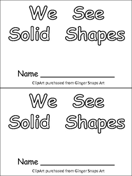 Solid Shapes Kindergarten Emergent Reader- 3-d... by
