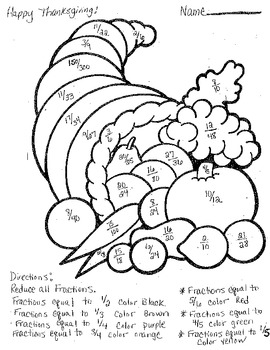 Thanksgiving Reducing Fractions Coloring Sheet by Carmen