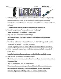 The Giver - Lois Lowry - Test and Answer Key by Kurt ...
