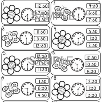 Time to the Half Hour Spring Theme Common Core... by