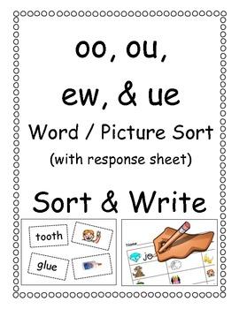 oo, ou, ew, & ue Picture/Word Sort by Krystal White