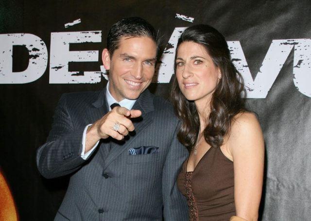Actor Jim Caviezel and wife Kerri Browitt Caviezel holds a ...