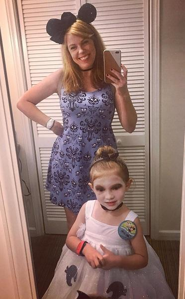 Ami Bruni Getting Her Daughter Charlotte Ready for Halloween Party