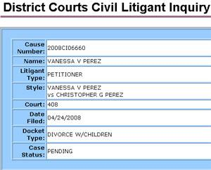 Vanessa and Chris Perez Divorce File