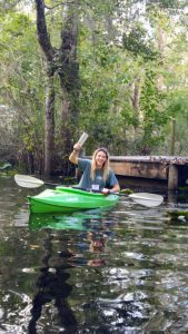 Student paddling