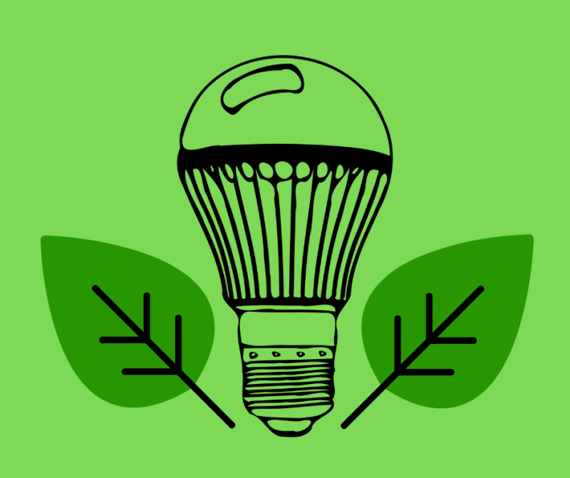 LED bulb surrounded by leaves
