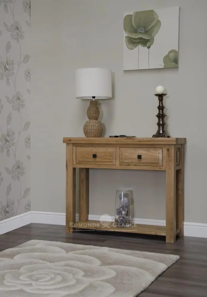 deluxe chunky rustic solid oak hall unit two drawers and bottom shelf for extra storage and choice of knobs DLXHT