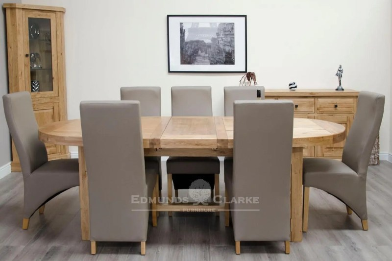 Melford super oval dining table with two leaves solid oak