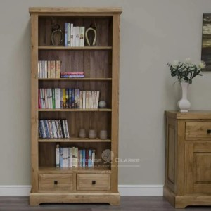 Melford solid oak large bookcase. Deluxe Rustic Solid Oak Large bookcase with four adjustable shelves and two storage drawers at the bottom DLXLGBC