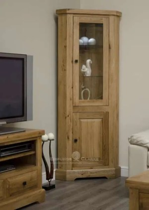 Melford deluxe solid oak corner display unit. deluxe chunky rustic solid oak corner display unit with glass door to upper and two glass shelves within and one door with one shelf and choice of knobs DLXCORDU
