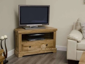 deluxe chunky rustic solid oak corner tv unit with one long drawer with glass shelf and choice of knobs DLXCORTV