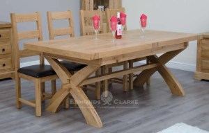 Melford solid oak X leg extending dining table. chunky rustic solid oak 200cm X Leg with two leaves that store underneath will sit 12 to 14 people comfortably DLXXLEG