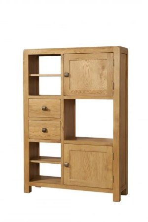 Avon Oak high display unit with doors & drawers.Contemporary and Quirky Waxed Oak with smooth edges. with square rustic knobs and square space for ornaments. DAV09