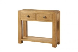 Avon oak large hall console table with 2 drawers .Contemporary and Quirky Waxed Oak with smooth edges. square rustic knobs , shelf at bottom. DAV10