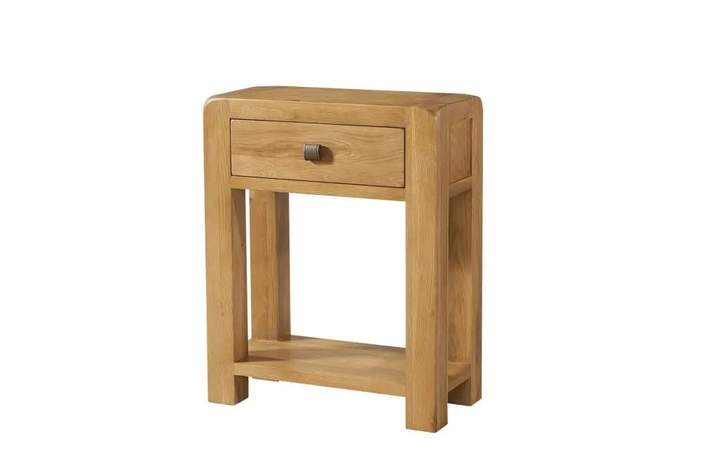 avon oak small console 1 drawer shelf