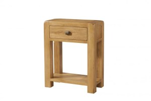 Avon oak small hall console table with drawer. Contemporary & Quirky Waxed Oak with smooth edges. Console table with 1 drawer with square rustic knobs , shelf at bottom. DAV11
