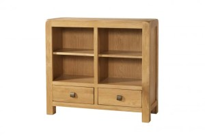 Contemporary and Quirky Waxed Oak with smooth edges. Low Bookcase with 2 drawers at bottom, 2 adjustable shelves with square rustic knobs . DAV020