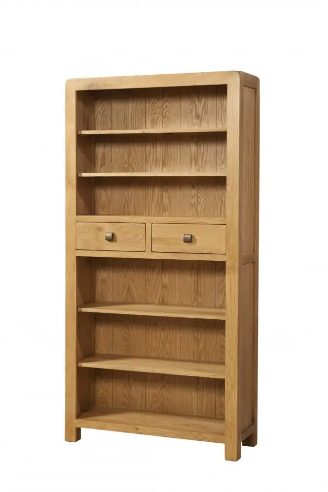 Oak Tall 2 Drawer Bookcase. Contemporary and Quirky Waxed Oak with smooth edges. 2 drawers central to bookcase 4 adjustable shelves with square rustic knobs . DAV021