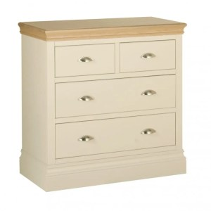 lundy painted 2 + 2 drawer chest. 2 small drawers with 2 large drawers under , solid chunky moulded oak top, painted deep chunky moulded plinth various colours and handle options available LC60