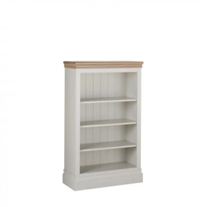 lundy painted 4ft bookcase. solid chunky moulded oak top, painted deep chunky moulded plinth various colours available LK20