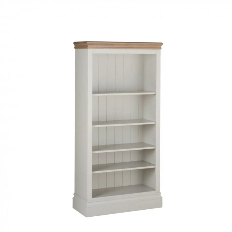 Lundy Painted 5ft Bookcase solid chunky moulded oak top, painted deep chunky moulded plinth various colours available LK30