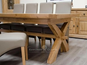 Melford solid oak super X leg extending dining table chunky rustic solid oak 240cm Super X Leg with two 50cm leaves that store underneath will sit 8 to 14 people comfortably DLXSUPXLEG