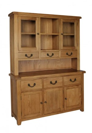 Somerset Oak Large Dresser image showing complete. 3 handy drawers, 3 doors with shelf within. Chunky contemporary waxed oak .chunky top, and dark antique brass round rustic knobs and drop down handles. SOM053 SOM055