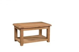 Somerset Oak Standard Coffee Table. Chunky contemporary waxed oak .chunky top, tapered legs with handy shelf under. SOM074