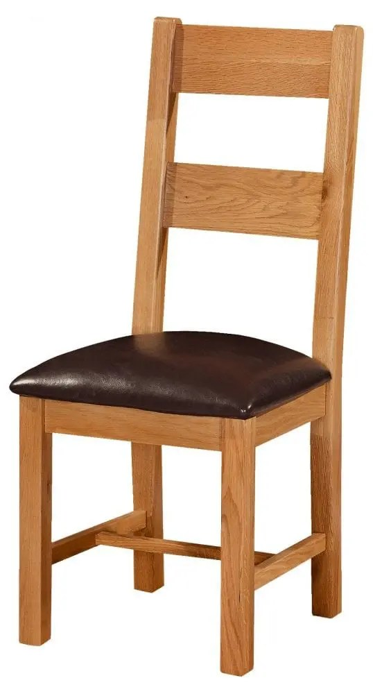 oak ladder back dining chair & wipeable seat. Chunky contemporary waxed oak shaker style . 2 wide horizontal slats with faux leather brown pad, SOM098
