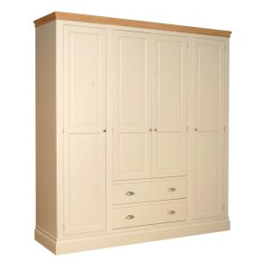 Lundy Painted Quad Wardrobe 4 doors 2 drawers chrome cup handles on drawers and chrome trumpet knobs on doors, shelves and mirrors available. Picture showing colour truffle, other colours available LW90