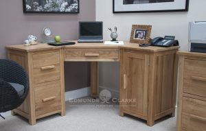 Bury solid oak home office corner desk with filing cabinets two drawers that hold A4 folders, pull out keyboard and tower storage