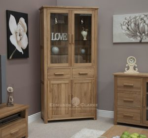 Bury Solid Oak Library Bookcase with glass doors, beveled glass doors at the top and 2 drawer cupboard below, chrome handles as standard or oak bar handles as optional extra