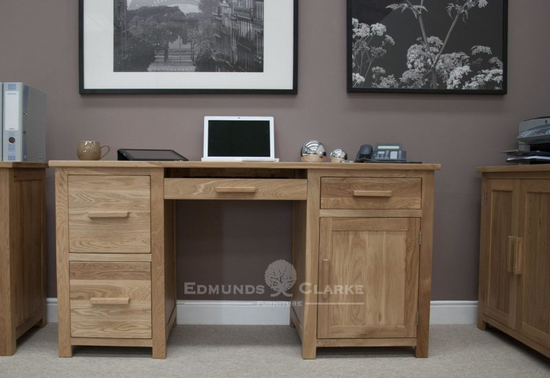 Bury oak home office large desk, 2 filing cabinets that hold A4 hanging files, keyboard drawer and cupboard with drawer above, ample space, light oak finish