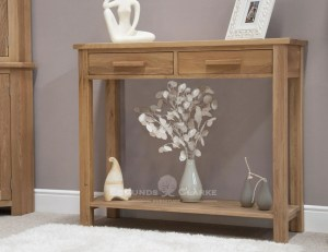 Bury solid oak console hall table. with 2 drawers and handy shelf below. chrome bars fitted as standard. oak bars available at extra cost