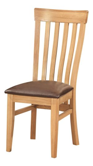 Toulouse Dining Chair. small vertical slats with excellent lumbar support. faux leather dark brown seat pad, this chair goes with Norwich Oak and Dorset Oak LIGHT OAK collections. DOR099