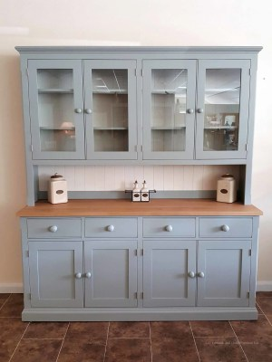 "Painted 6ft 6"" Half Glazed Dresser. with contrasting white backboards. sideboard has square oak top with 4 drawers and 4 doors. painted knobs and all adjustable shelves. choice of handles and knobs. EDM030"