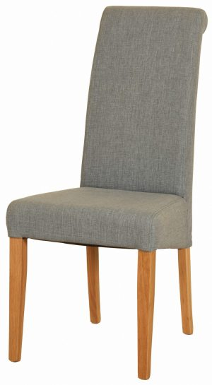light grey fabric dining chair with light oak legs. tight woven fabric on back seat and pad